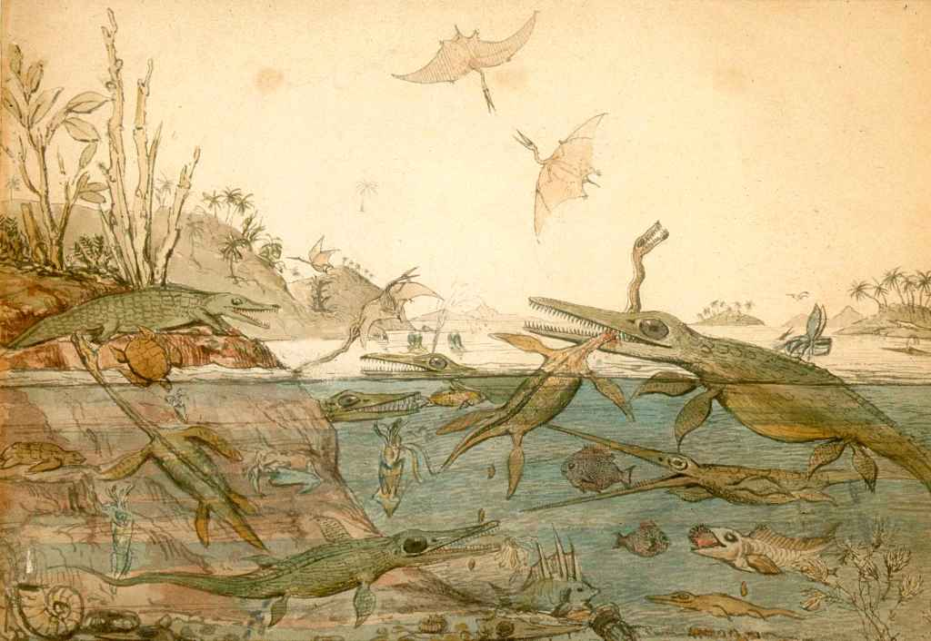 Painting of how De la Beche envisioned the ichthyosaurs, pterosaurs, ammonites, and fish that Anning unearthed