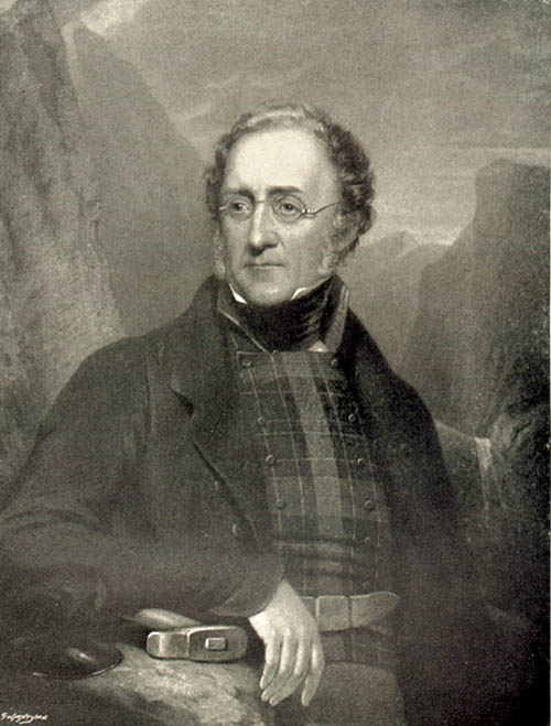 Lithograph portrait of Henry De la Beche wearing glasses and a field coat with a rock hammer