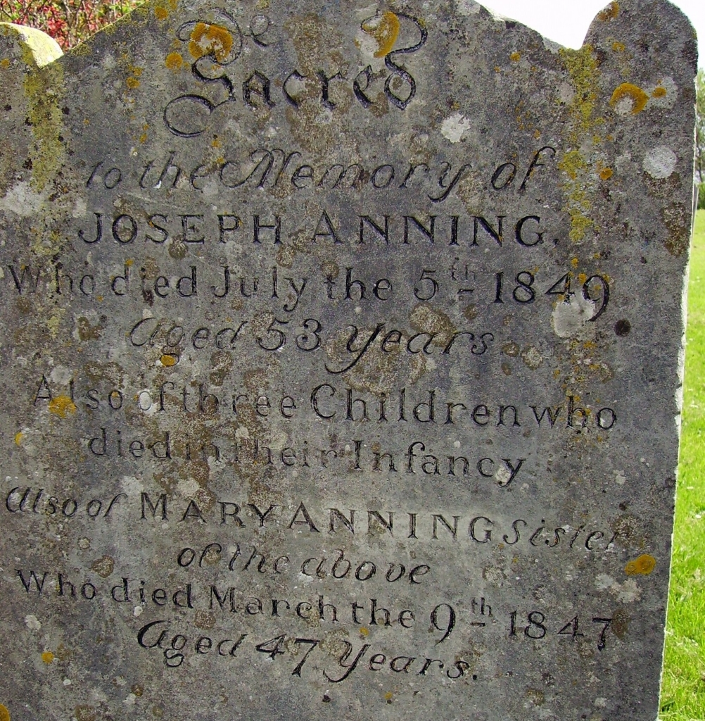 Tombstone of Mary Anning and her brother Joseph