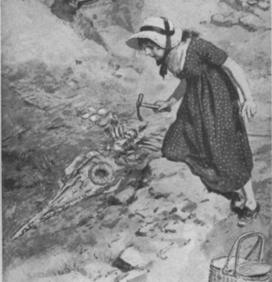 Illustration of a young Anning unearthing a fossil skeleton with a small rock hammer. She is wearing a dress and a hat.