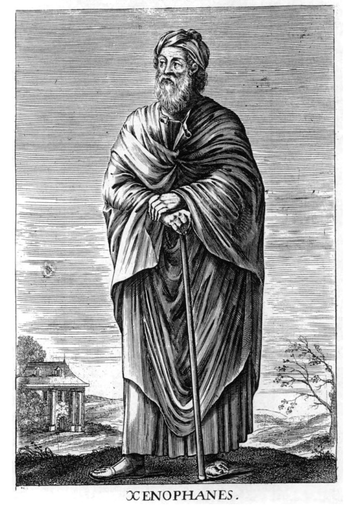 Illustration of Xenophanes. He's wearing a long toga-like robe and holds a walking stick