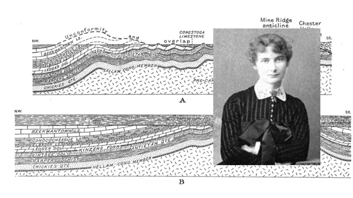 Portrait of a young Florence Bascom wearing a buttoned up dress, short curly hair. Behind her are a series of geologic cross sections showing folded rock layers