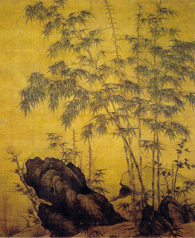 Painting of tall, thin bamboo stalks jutting out from black craggy rocks