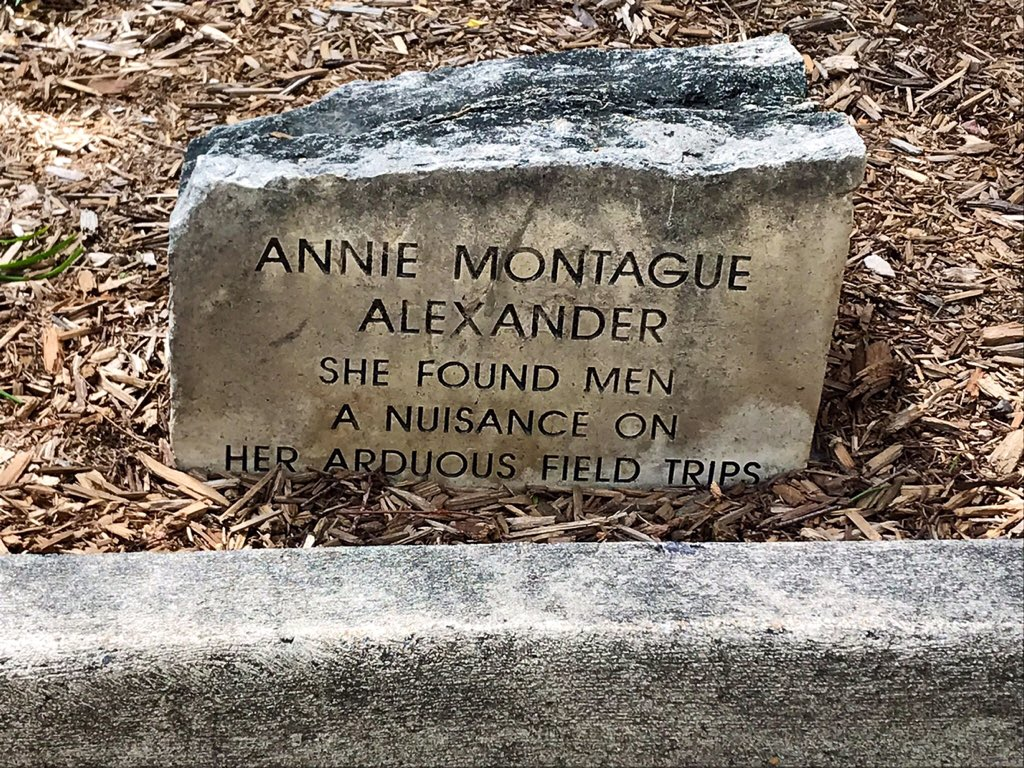 """A stone with words """"Annie Alexander, she found men a nuisance on her arduous field trips"""""""