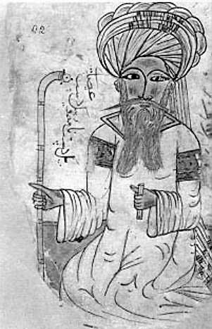 A drawing of Ibn Sina with a turban holding a staff. He has a long beard and is wearing a robe